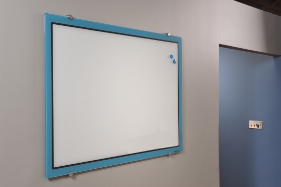 Blue Border Designer Glass Magnetic Dry Erase Board